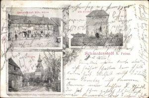 Ak Schmedenstedt Peine in Niedersachsen, Alte Kirche, Gastwirtschaft Wilh. Kühne