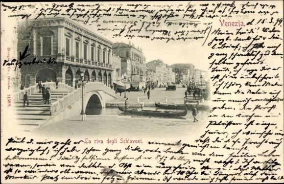 Ak Venezia Venedig Veneto, La riva degli Schiavoni, Kanal, Brücke