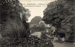 Ak Asnières sur Seine Hauts de Seine, Interieur du Cimetiere des Chiens, Hundefriedhof
