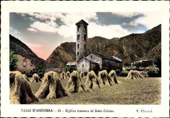 Ak Andorra la Vella Andorra, Esglesia romanica de Santo Coloma, Kirche, Garben