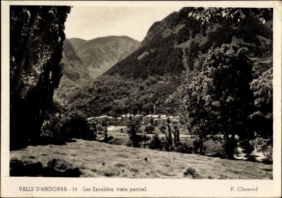 Ak Escaldes Engordany Andorra, Vista parcial, Ortschaft mit Landschaftsblick