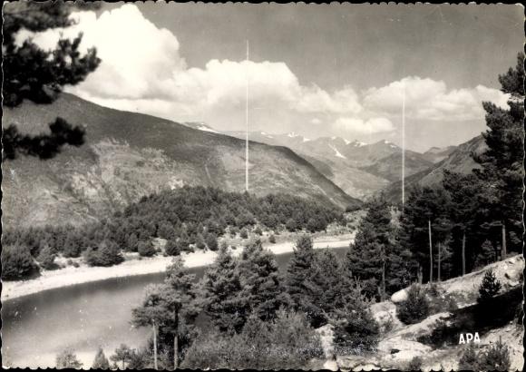 Ak Encamp Andorra, Site sauvage du Lac d'Engolasters avec les antennes de Radio Andorre, Sendemasten