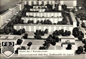 Ak Halle Neustadt, Modell des 1. Wohnkomplexes, Großbaustelle der Jugend, FDJ