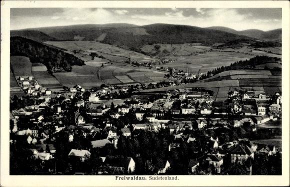 Ak Jeseník Freiwaldau Reg. Olmütz, Panorama der Ortschaft