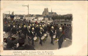 Ak Orléans Loiret, Fete de Jeanne d'Arc, La Procession, Sapeurs Pompiers, Feuerwehrkapelle