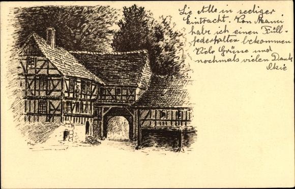 Künstler Ak Rodeberg Thüringen, Kloster Zelle, Fachwerkhäuser