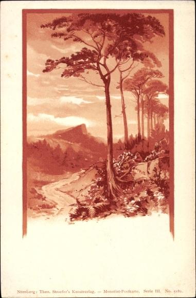 Litho Theo Stroefer Serie III. Nr 5182, Monotint, Landschaft