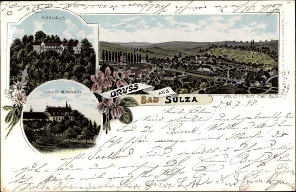 Litho Bad Sulza im Weimarer Land Thüringen, Schloss Bergsulza, Kurhaus, Panorama vom Ort