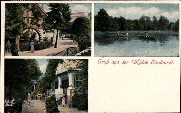 Ak Lindhardt Naunhof im Kreis Leipzig, Ansichten der Mühle Lindhardt