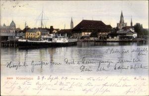 Ak Konstanz am Bodensee, Teilansicht der Stadt, Dampfer am Anleger