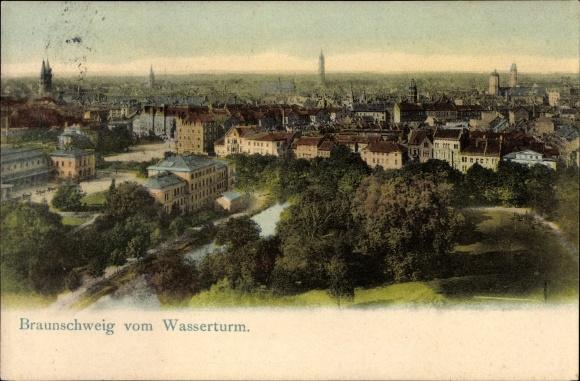 Ak Braunschweig in Niedersachsen, Blick auf die Stadt vom Wasserturm aus