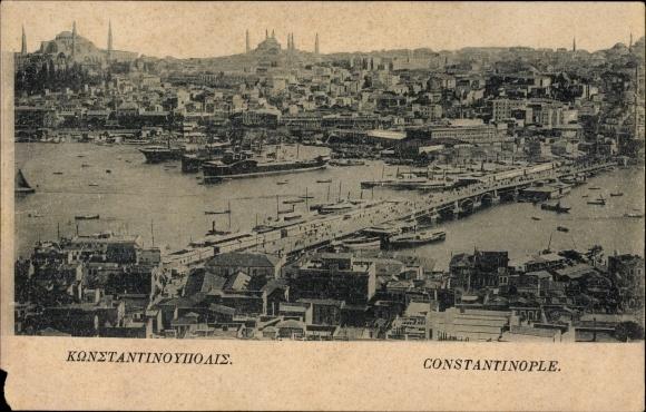 Ak Konstantinopel Istanbul Türkei, Totalansicht der Stadt, Brücke