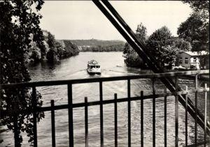 Ak Erkner im Kreis Oder Spree, Flakenfließ, Blick von einer Brücke, Dampfer