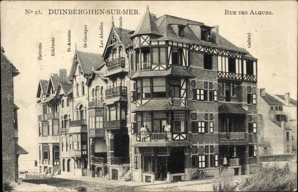 Ak Duinbergen Knokke Heist Westflandern, Straßenpartie Rue des Algues, Gebäude