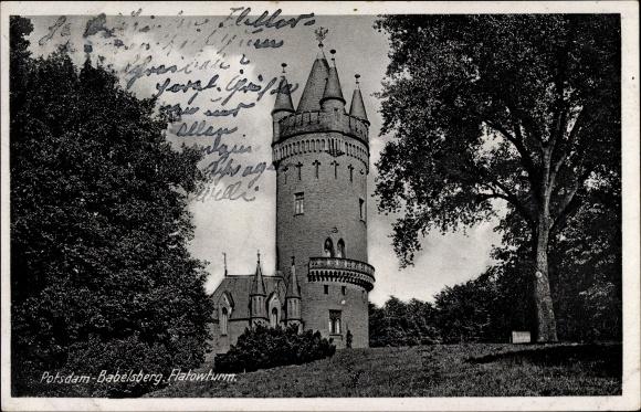 Ak Babelsberg Potsdam in Brandenburg, Blick auf den Flatowturm
