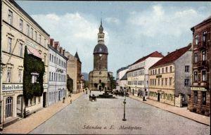 Ak Bad Schandau an der Elbe, Blick auf den Marktplatz, Hotel zum Anker