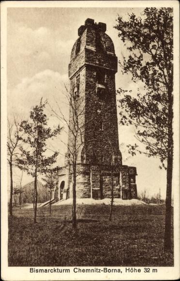 Ak Borna Chemnitz Sachsen, Partie am Bismarckturm