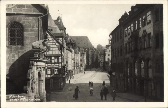 Ak Nürnberg in Mittelfranken Bayern, Partie an der Fleischbrücke, Fachwerkhaus, Dentist H. Ullmann