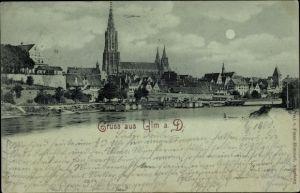 Mondschein Ak Ulm an der Donau Baden Württemberg, Blick vom Fluss zum Münster