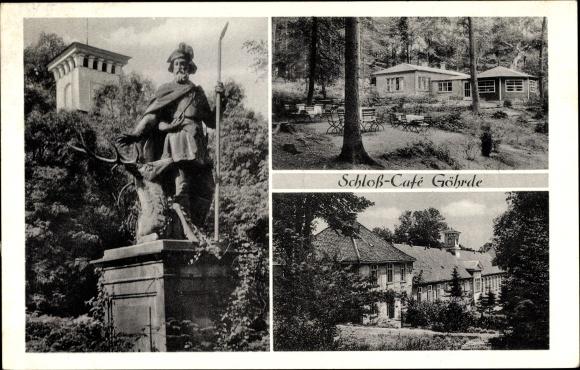 Ak Göhrde in Niedersachsen, Schlosscafé, H. Zimmermann, Denkmal, Aussichtsturm