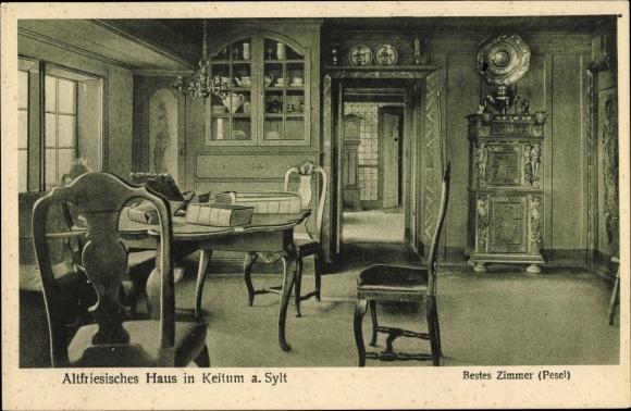Ak Keitum auf Sylt, Altfriesisches Haus, bestes Zimmer, Pesel, Innenansicht