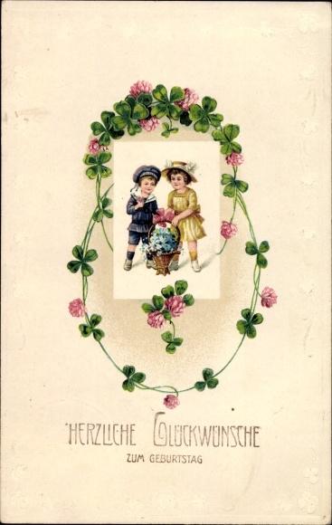 Präge Passepartout Ak Glückwunsch Geburtstag, Kinder mit Blumenkorb, Kleeblätter