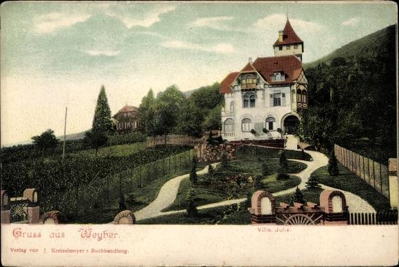 Ak Weyher in der Pfalz, Villa Julie, Außenansicht vom Garten