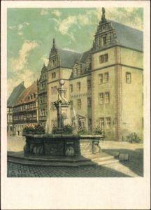 Künstler Ak W. Ebeling, Halberstadt in Sachsen Anhalt, Am Holzmarkt
