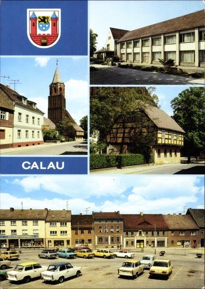 Ak Calau in Brandenburg, Kirchstraße, Haus der Gewerkschaften, Heimatmuseum, Platz des Friedens