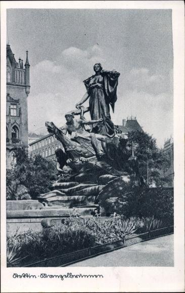 Ak Szczecin Stettin Pommern, Der Manzelbrunnen, Allegorie Sedina