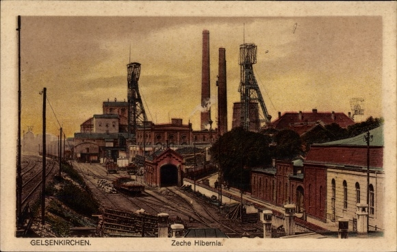 Ak Gelsenkirchen im Ruhrgebiet, Zeche Hibernia, Bahnstrecke