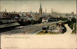 Ak Bochum im Ruhrgebiet, Blick vom Rheinbahnhof aus, Vogelschau