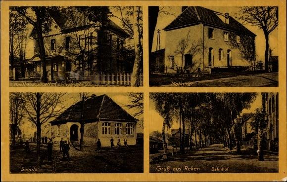 Ak Reken Nordrhein Westfalen, Gasthaus Jägerhof, Molkerei, Schule, Bahnhof