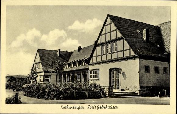 Ak Rothenbergen Gründau Main Kinzig Kreis, Blick auf ein Fachwerkhaus