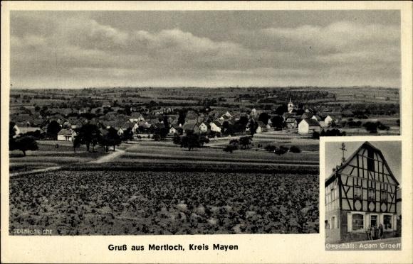 Ak Mertloch in Rheinland Pfalz, Geschäft Adam Graeff, Totalansicht von Ort