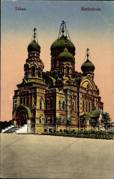 Ak Liepaja Libau Lettland, Blick auf die Kathedrale