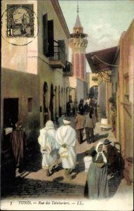Ak Tunis Tunesien, Rue des Teinturiers, Straßenpartie, Anwohner, LL.