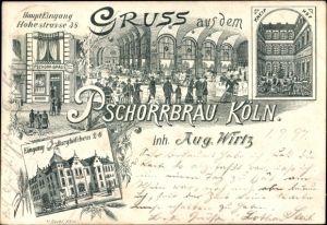 Litho Köln am Rhein, Pschorrbräu, Inh. Aug. Wirtz, Hohestraße 38, Burghöfchen 2-6