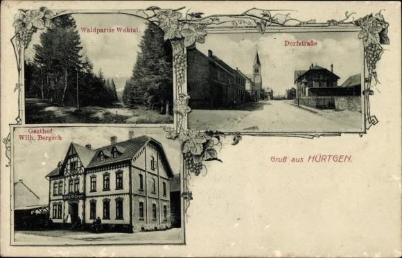 Ak Hürtgen Hürtgenwald Nordrhein Westfalen, Dorfstraße, Gasthof Wilh. Bergsch, Waldpartie Wehtal