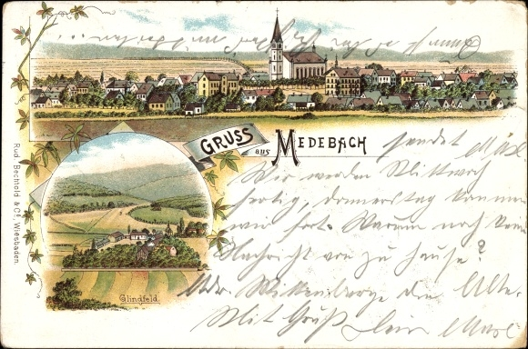 Litho Medebach im Hochsauerlandkreis, Glindfeld, Kirche, Panorama vom Ort