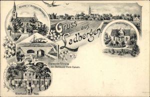 Litho Ladbergen in Nordrhein Westfalen, Kirche, Kriegerdenkmal, Gasthaus zur Post, Pfarrhaus