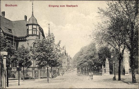 Ak Bochum im Ruhrgebiet, Blick auf den Eingang zum Stadtpark
