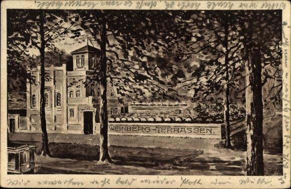 Künstler Ak Halle an der Saale, Weinberg Terrassen, Inh. Emil Hecht