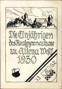 Studentika Ak Altena im Märkischen Kreis, Die Einjährigen des Realgymnasiums 1930, Wappen