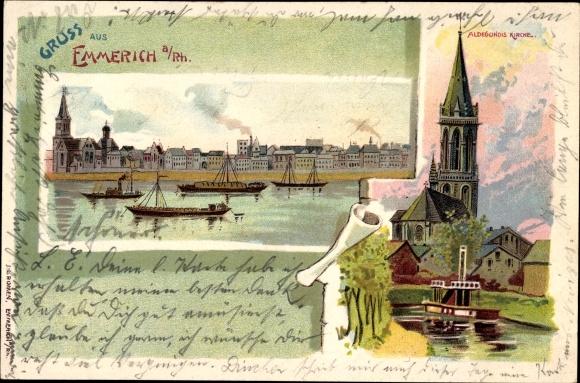 Litho Emmerich am Niederrhein, Flusspartie mit Blick auf die Stadt, Aldegundis Kirche