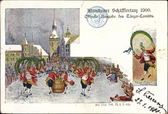 Künstler Ak München Bayern, Schäfflertanz 1900, Vortänzer Xaver Mayr
