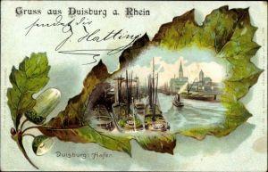Eichenblatt Litho Duisburg im Ruhrgebiet, Blick auf den Hafen