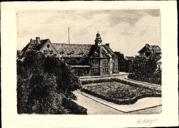 Künstler Ak Hayn, H., Dahlhausen Bochum im Ruhrgebiet, Blick auf den Bahnhof