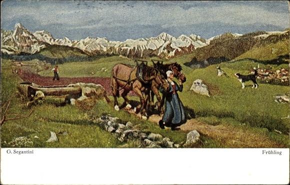 Künstler Ak Segantini, Giovanni, Frühling, Bäuerin mit zwei Pferden, Gebirge, Felder, Hund