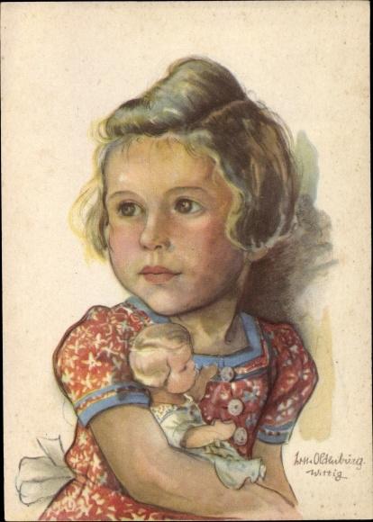 Künstler Ak Oldenburg Wittig, Lotte, Blondes Mädchen mit Puppe